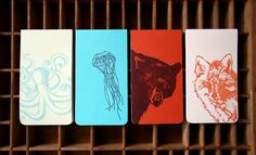 The octopus is one of 4 in a series of small notebooks. We work with a local printer down the street to bind the 30 paged inside notepad. Then we letterpress print the cover, wrap around and attach. It fits perfect in your pocket.    Octopus measures 3x5.5 with two rounded corners and is full of 30 whitewash colored 100% recycled pages. The pages are a wonderful smooth text weight and perfect for drawing, writing, gluing, and even erasing. The cover is 100# pale citrus green and is printed…