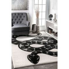 nuLOOM Black and White Made by Thomas Paul Slithering Serpent Area Rug - 5' x 8' - Black and White