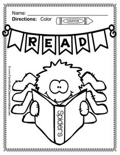 free reading spider fun printable coloring page in the preview download 50