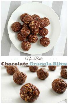 Healthy Snack or School Lunch Treat: Chocolate Granola Bites!