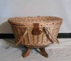 Vintage Willow Lined Picnic Basket with by AcadianaHodgePodge, $25.99