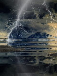 Lightning over the ocean clouds-fire-and-volcanos