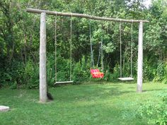 Natural swing set - If only I was handy enough to build something like this!