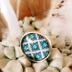 Anillo Ajustable azulejo azul y anillo imitación playa vieja. Anillo grande de cristal  cerámica. Anillo étnico. Precioso en la mano. de VintageNiceShop en Etsy