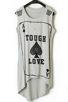 (leggings? shorts? a skirt? pair with anything to fit your personality)  Poker Graphic High-low Tee OASAP.com