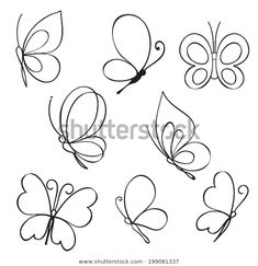"""the royalty-free vector """"Set of hand drawn butterflies"""" designed by at the lowest price on . Browse our cheap image bank online to find the perfect stock vector for your marketing projects! Doodle Drawings, Easy Drawings, Embroidery Patterns, Hand Embroidery, Butterfly Embroidery, Bullet Journal Inspiration, Rock Art, Painted Rocks, Coloring Pages"""