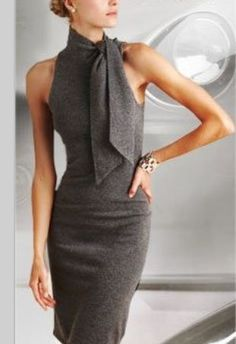 Grey dress with high neck and bow