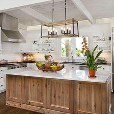 Farm Kitchen Ideas, Kitchen Cabinet Inspiration, Farmhouse Kitchen Island, Modern Farmhouse Kitchens, Home Kitchens, Rustic Chic Kitchen, Farmhouse Kitchen Inspiration, Industrial Farmhouse Kitchen, Black Kitchen Island