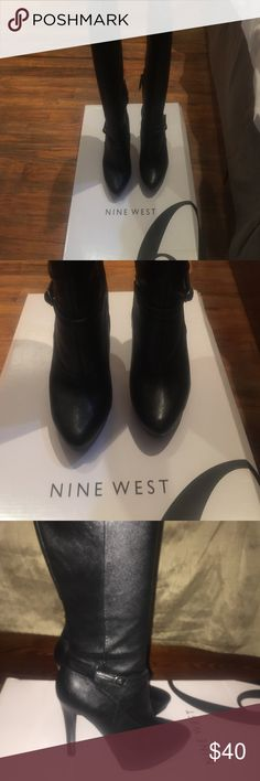 Leather boots like new Over the knee Nine West Black Leather Boots barely worn. Nine West Shoes Over the Knee Boots