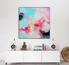 Large Pink blue art abstract Painting pink Giglee print