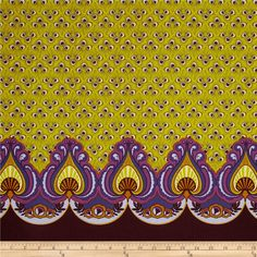 "Feathers and Fancy Peacock Double Border Plum from @fabricdotcom  Designed by Dianna LaFerry for Benartex, this cotton print fabric is perfect for quilting, apparel and home decor accents. Colors include plum and purple, orange, kiwi, yellow and wisteria. Features an 8"" vertical border at each selvedge."