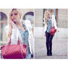 dark blue skinny jeans, denim shirt, white blazer and pink handbag