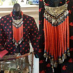 Red snake beads #MashaArcher #statementjewelry #jewelry