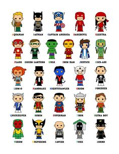 Cute Superhero Alphabet Poster(Okay--Kick-Ass and the Punisher aren't exactly preschool-friendly, but this is cute) Superhero Alphabet, Superhero Classroom, Superhero Room, Superhero Party, Classroom Themes, Alphabet Posters, Batman Party, Aquaman, Anniversaire Wonder Woman