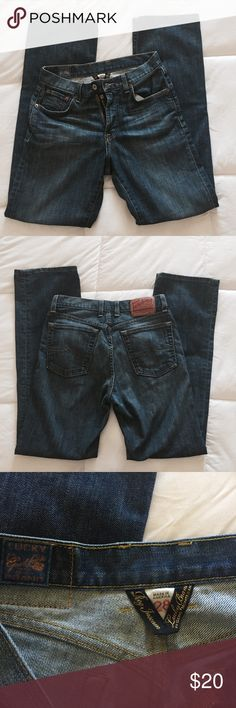 Men's Lucky 🍀 Jeans Size 28 x 33 Inseam EUC! Very gently used men's Lucky Jeans size 28 x 33. ✨ Bought these from another Posher but the size unfortunately didn't work. Excellent condition, from a cat friendly home! 🐱 (NOTE: White spot on butt is just some fuzz! Didn't see it til I uploaded 😜) Lucky Brand Jeans Bootcut #mensjeansbootcut #mensjeansbrands