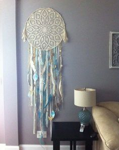 If you wanta challenging yet beautiful piece of art, you can recreate this crocheted dream catcher. Dreams Catcher, Blue Dream Catcher, Giant Dream Catcher, Los Dreamcatchers, Blue Grey Walls, Craft Projects, Projects To Try, Diy And Crafts, Arts And Crafts