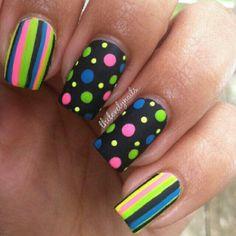 Polka dot striped nails. Black, green, pink, blue, yellow.