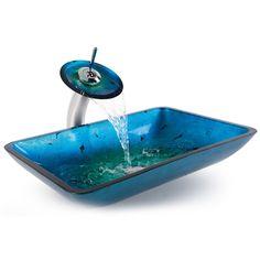 Kaufen (EU Lager) Glas Waschbecken Eckig mit Wasserfall Armatur Blau mit Günstigste Preis und Gute Service!