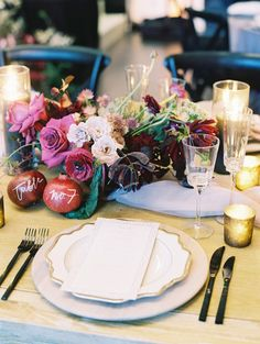 Turn up the fall charm at your wedding reception with these colorful, autumnal tables! From pumpkin centerpieces to wooden chargers, you'll love these pretty fall-inspired ideas Red Bouquet Wedding, Blush Wedding Flowers, Purple Wedding, Fall Wedding Place Settings, Fall Table Settings, Pumpkin Centerpieces, Wedding Centerpieces, Wedding Decorations, Wedding Ideas