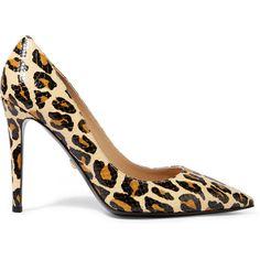 Diane von Furstenberg Bethany leopard-print snake-effect leather pumps ($160) ❤ liked on Polyvore featuring shoes, pumps, leopard print, leather platform pumps, high heel pumps, pointed toe pumps, pointed toe platform pumps and leather pumps