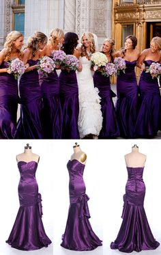 real wedding classic purple bridesmaid dresses with sweetheart neckline