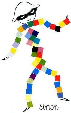 for Kinder. Cut and Paste Shapes.Harlequins for Kinder. Cut and Paste Shapes. Mardi Gras, Theme Carnaval, Diy For Kids, Crafts For Kids, Carnival Crafts, Diy And Crafts, Arts And Crafts, Art School, Art Lessons