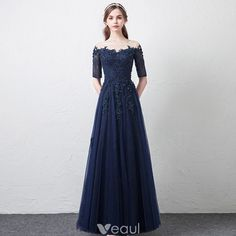 Modern / Fashion Navy Blue See-through Prom Dresses 2018 A-Line / Princess Scoop Neck Sleeves Appliques Lace Beading Floor-Length / Long Ruffle Formal Dresses Blue Homecoming Dresses, Prom Dresses 2018, Gala Dresses, Formal Dresses For Teens, Formal Gowns, Dress Formal, Green Evening Dress, Evening Dresses, Pretty Dresses