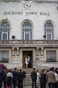 Wedding photo outside Hackney Town Hall, London. Photo by.     Eduardo Carrasco