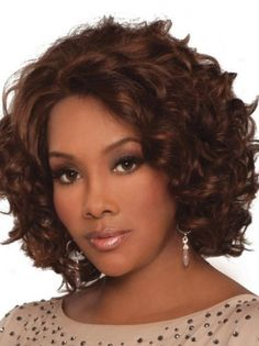 Medium Curly Lace Front Auburn African American Wigs