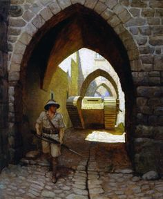 "'The Twentieth Century and the First' - The Dramatic Contrast of an English Tank in the Streets of Jerusalem' (1918) - N.C. Wyeth (1882-1945) - Oil on canvas, 38 5/16 x 31 1/4 in. (97.3 x 79.3 cm) - Brandywine River Museum - Bequest of Carolyn Wyeth, 1996 Color illustration p. 17, ______, ""The New Crusaders Enter Jerusalem,"" Red Cross Magazine, vol. XIII, no. 6 (June 1918)"
