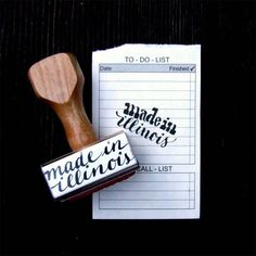 Made in Illinois // Wood Handle Rubber Stamp // Hand Lettered Calligraphy // Made in Your State Packaging Stamp on Etsy, $16.00