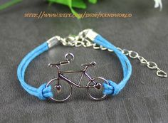 ocean blue rope cute little retro bicycle bracelet silvery bicycle chame bracelet