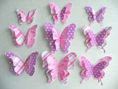 """3D Butterfly Starter/Gift Set:  wall art to decorate Nursery, Children's Room, Bedroom or any other room - """"Sally"""" SINGLE SET. $7.00, via Etsy."""