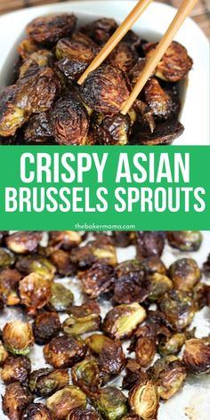 Crispy Asian Brussels Sprouts Crispy Asian Brussels Sprouts is such an easy side dish that will win over a crowd. Crispy texture with a rich Asian flavors in every single bite. Dress up your side dish and make it stand out tonight. Crock Pot Recipes, Side Dish Recipes, Vegetable Recipes, Cooking Recipes, Easy Asian Recipes, Best Healthy Recipes, Crockpot Asian Recipes, Xmas Recipes, Crock Pots