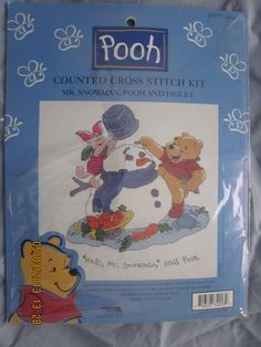 Pooh Counted Cross Stitch Kit - Mr. Snowman, Pooh and Piglet Item 34013 - NEW by WhimseysByAnne, $15.00