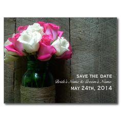 Mason Jar Of Roses & Barnwood Save The Date Postcards