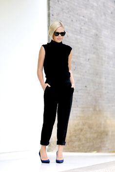 blonde bob, sleeveless turtleneck, cropped pants & heels #style #fashion #wethepeople
