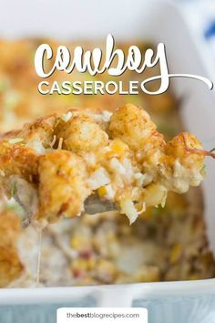This Cowboy Casserole is easy to make and the whole family will love it! It's beefy, cheesy, corn-y tator tot goodness will leave your kids wanting more! Hamburger Tator Tot Casserole, Tator Tot Hotdish Recipes, Cowboy Casserole, Easy Casserole Recipes, Casserole Dishes, Potato Casserole, Chicken Casserole, Hamburger Meat Recipes Ground, Crockpot Recipes