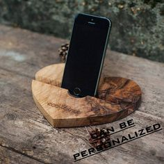 iPhone Wood Docking Station Stand iPad Support Cell Charging Smartphone Personalized Custom Heart Walnut Mom Sister Girlfriend Gift Presents - Phone manetfied holder - Diy Phone Stand, Wood Phone Stand, Ipad Stand, Ipad Holder, Tablet Holder, Mail Holder, Wood Phone Holder, Wood Supply, Support Telephone