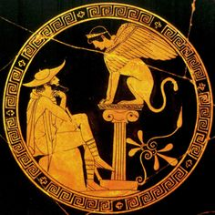 Oedipus and Sphinx. Attic Red-figure kylix by Douris. Detail of tondo: Oedipus, dressed as a traveller (hat, staff), seated before the Sphinx, who is perched atop a short Ionic column. By the Oedipus painter Ancient Greek Art, Ancient Persian, Ancient Rome, Ancient Greece, Greek Paintings, Sphinx, Greek Pottery, Stonehenge, Science Art