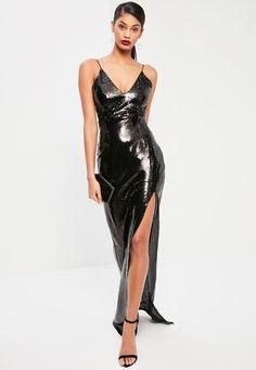 Czarna ekskluzywna cekinowa sukienka maxi z rozporkiem po boku dla wysokich kobiet - Missguided