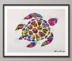 Sea Turtle watercolor canvas painting – Wacky Wigwam
