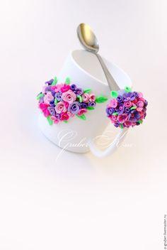 """Купить Кружка и ложка """"Цветочное настроение"""" - розовый, вкусная ложка, вкусная ложечка, подарок"""