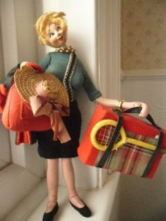 Fabulous Quirky/Kitsch 1950s/60s Roldan Doll - Going on holiday | eBay