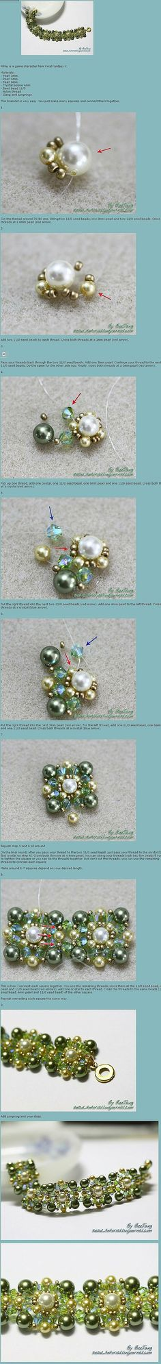 Beaded beads tutorials and patterns, beaded jewelry patterns, wzory bizuterii koralikowej, bizuteria z koralikow - wzory i tutoriale Wire Jewelry, Beaded Jewelry, Handmade Jewelry, Beaded Bracelets, Diamond Bracelets, Earrings Handmade, Jewlery, Bangles, Jewelry Patterns