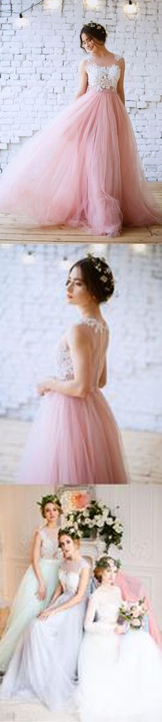 Charming Pink Lace Top Tulle Formal Evening Cheap Long Prom Dresses, WG790 #prom #promdress #longpromdress
