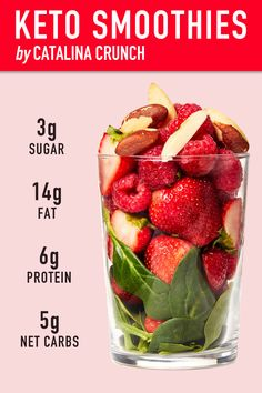 Did you know that most smoothies contain up to Sugar? Our new Keto-Friendly Smoothies contain only Sugar, plus plenty of protein & healthy fats to kick-start your day. keto food list for ketogenic diet Apple Smoothies, Healthy Smoothies, Healthy Fats, Healthy Drinks, Diet Drinks, Nutrition Drinks, Strawberry Smoothie, Healthy Juices, Green Smoothies