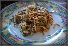 Hamburger Chow Mein (w/adding in frozen mixed veggies) Chinese Hamburger Recipe, Hamburger Recipes, Beef Recipes, Cooking Recipes, Recipies, Hamburger Hotdish, Hotdish Recipes, Beef Casserole Recipes, Kitchens