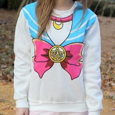This Sailor Scout style sweater is made for a casual but no less magical look. Soft and warm and brightly coloured, it'll spice up any outfit in need of a little moon power!