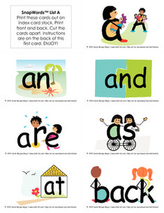 SnapWords Cards are essentials for teaching sight word recognition to a wide variety of learners, including right brained and visual learners, and those labeled with ADD/ ADHD, autism, or dyslexia.The images embedded into each word ensure that children gain a rich sight word vocabulary as easily as a camera snapping a picture and storing it in memory.